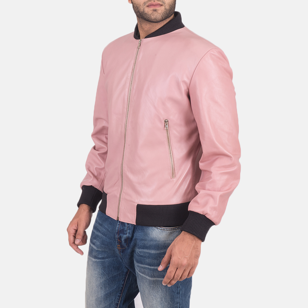 Men's Shane Pink Leather Bomber Jacket 3
