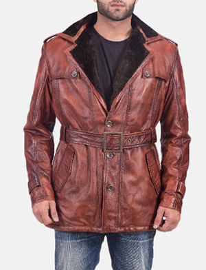 Mens Hunter Distressed Brown Fur Leather Coat