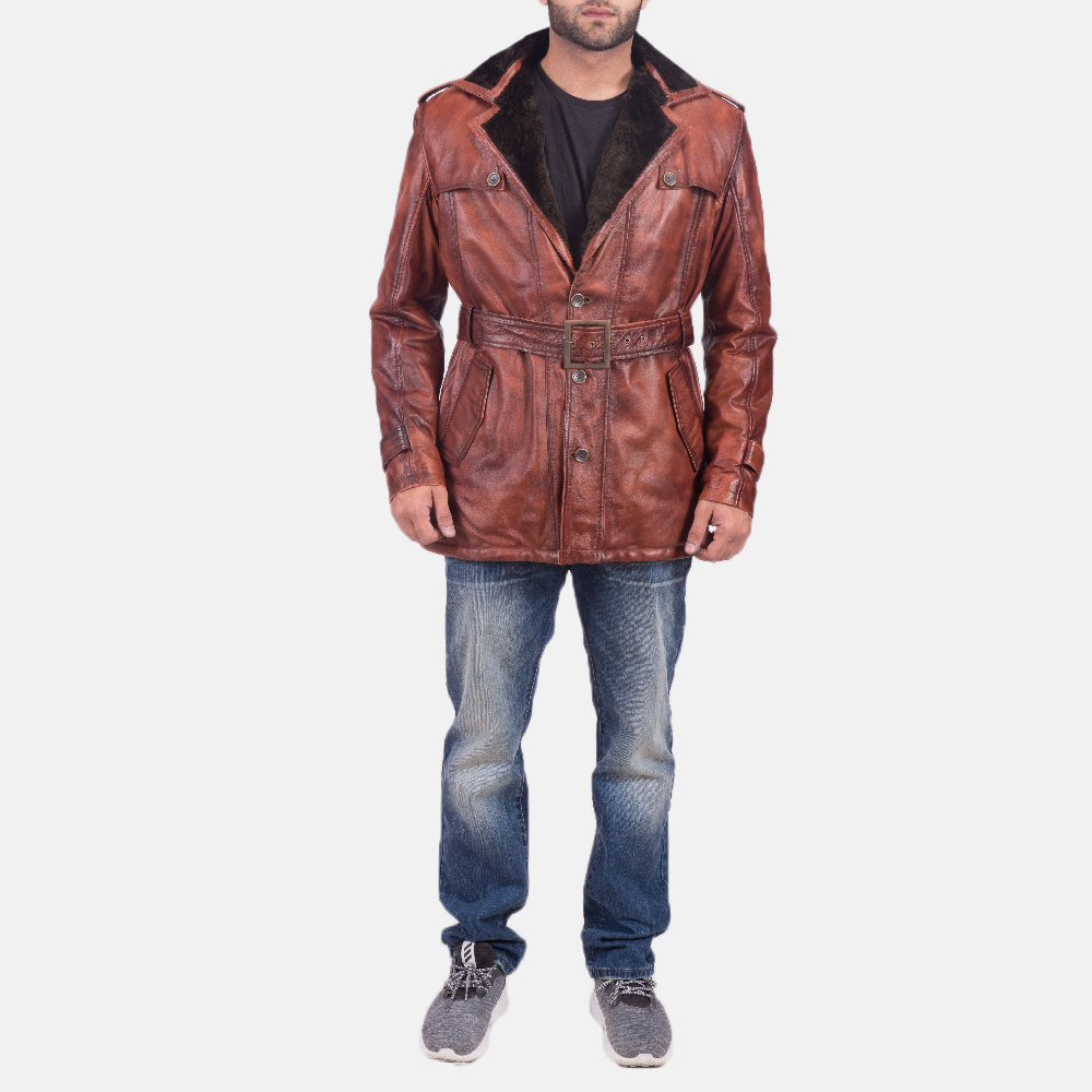 Mens Hunter Distressed Brown Fur Leather Coat 1