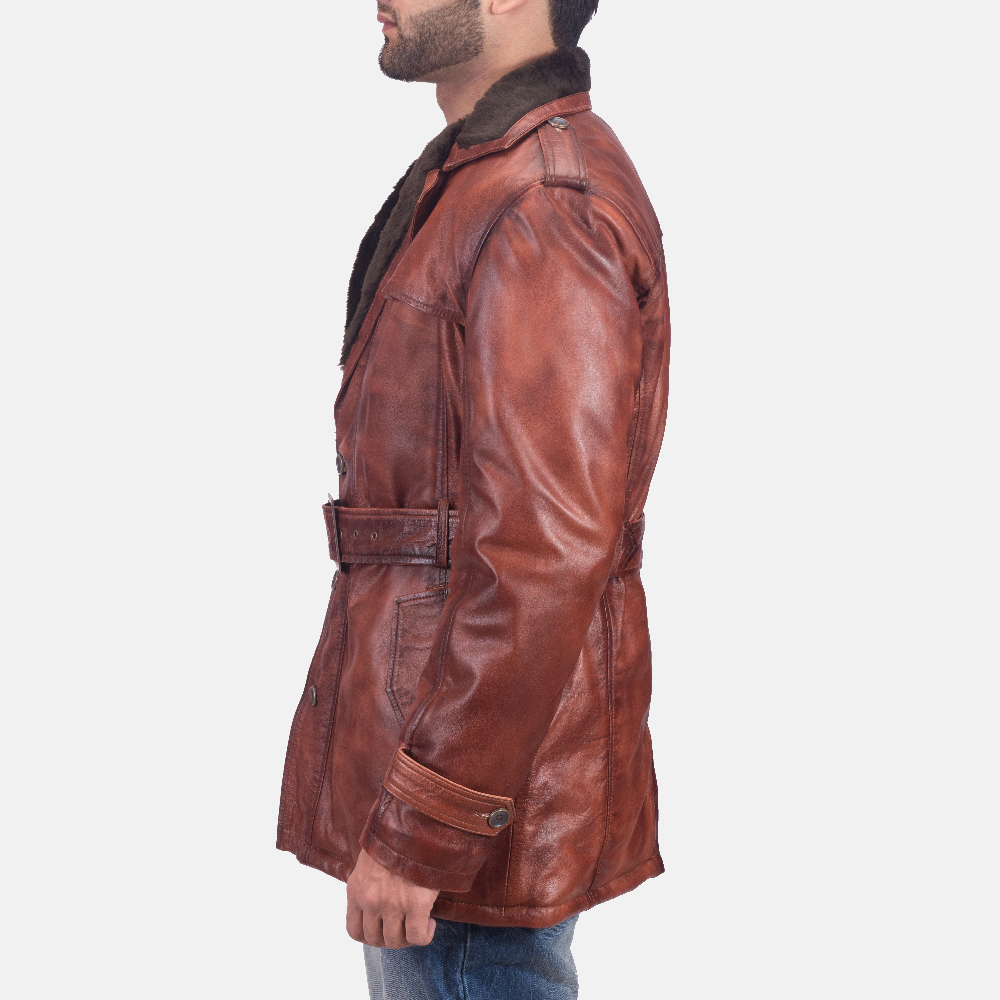 Mens Hunter Distressed Brown Fur Leather Coat 3