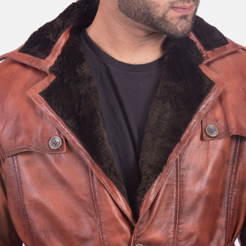 Mens Hunter Distressed Brown Fur Leather Coat 5