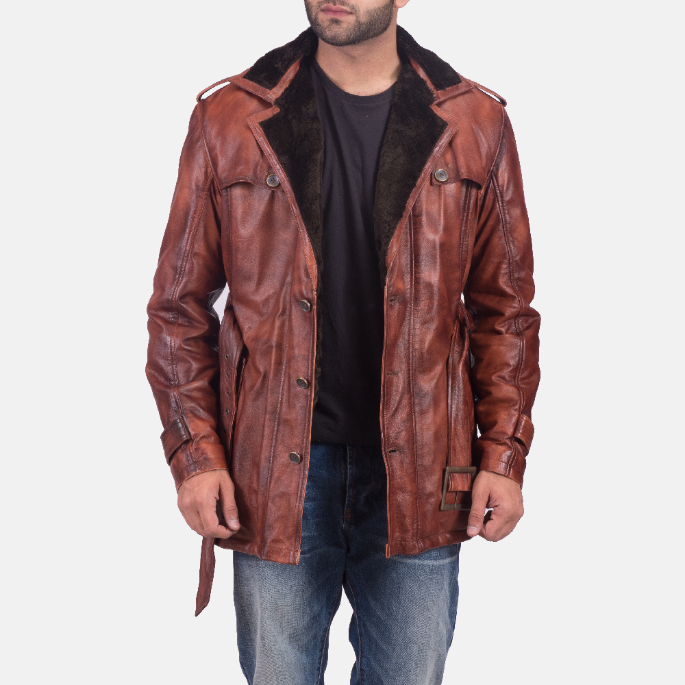 Mens Hunter Distressed Brown Fur Leather Coat 6