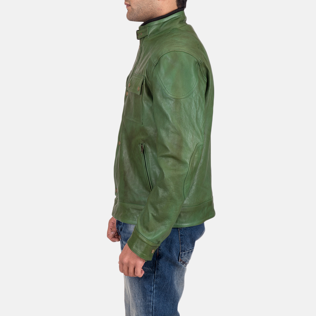 Men's Krypton Distressed Green Leather Jacket 6