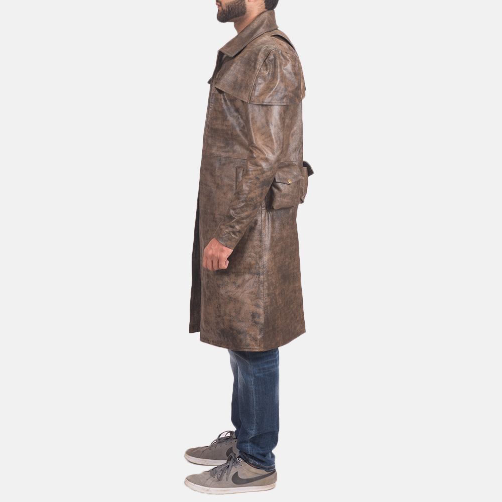 Men's Water-Resistant Brown Leather Duster 3