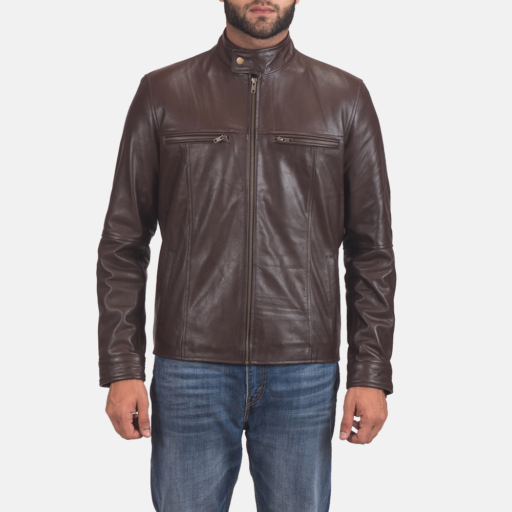 Mens Mel Brown Leather Biker Jacket 1