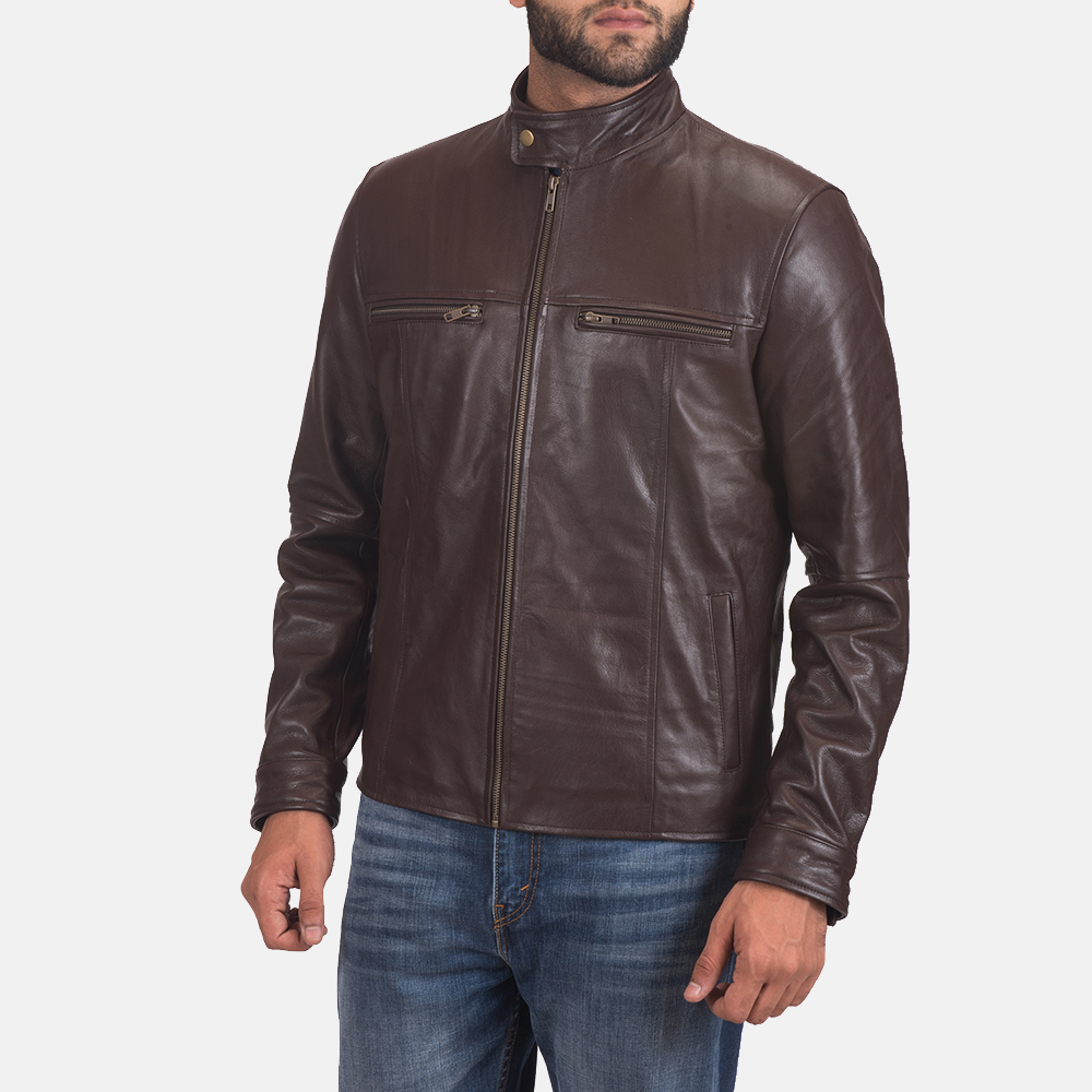 Mens Mel Brown Leather Biker Jacket 2