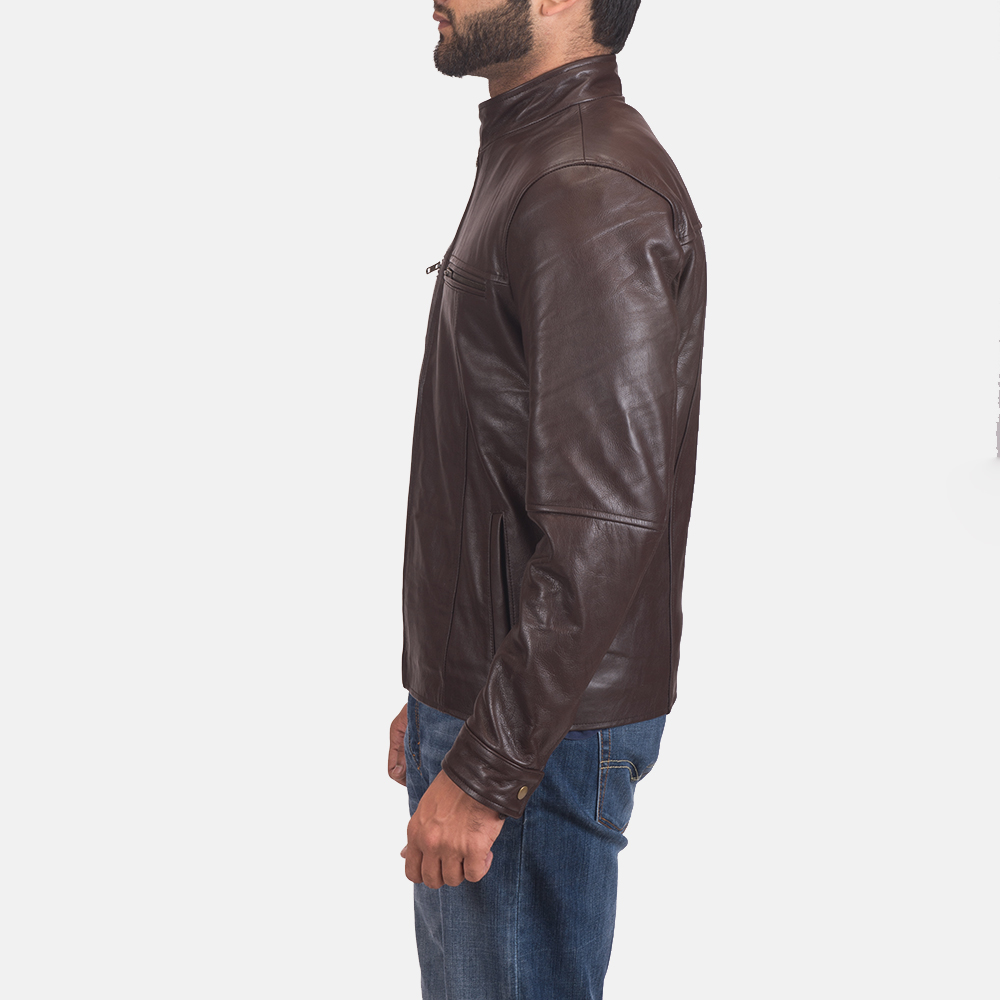 Mens Mel Brown Leather Biker Jacket 3