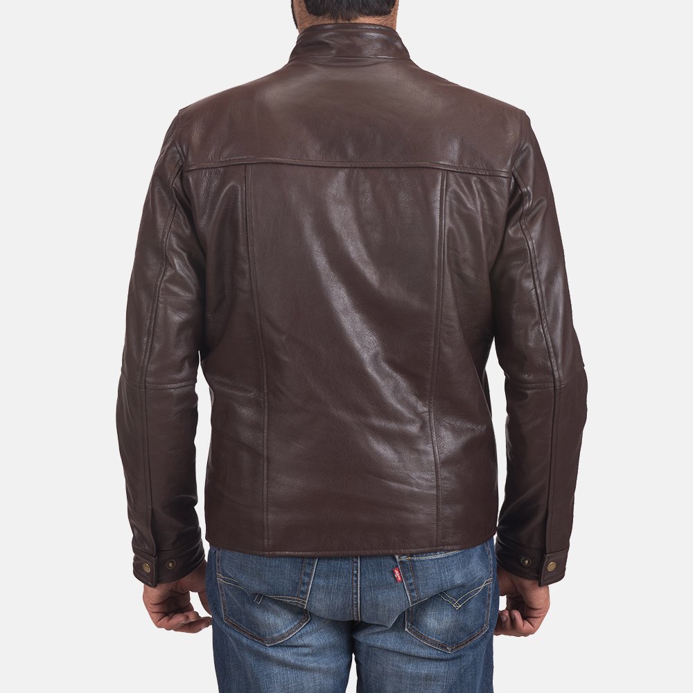 Mens Mel Brown Leather Biker Jacket 4