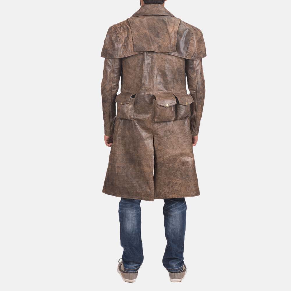 Men's Water-Resistant Brown Leather Duster 4
