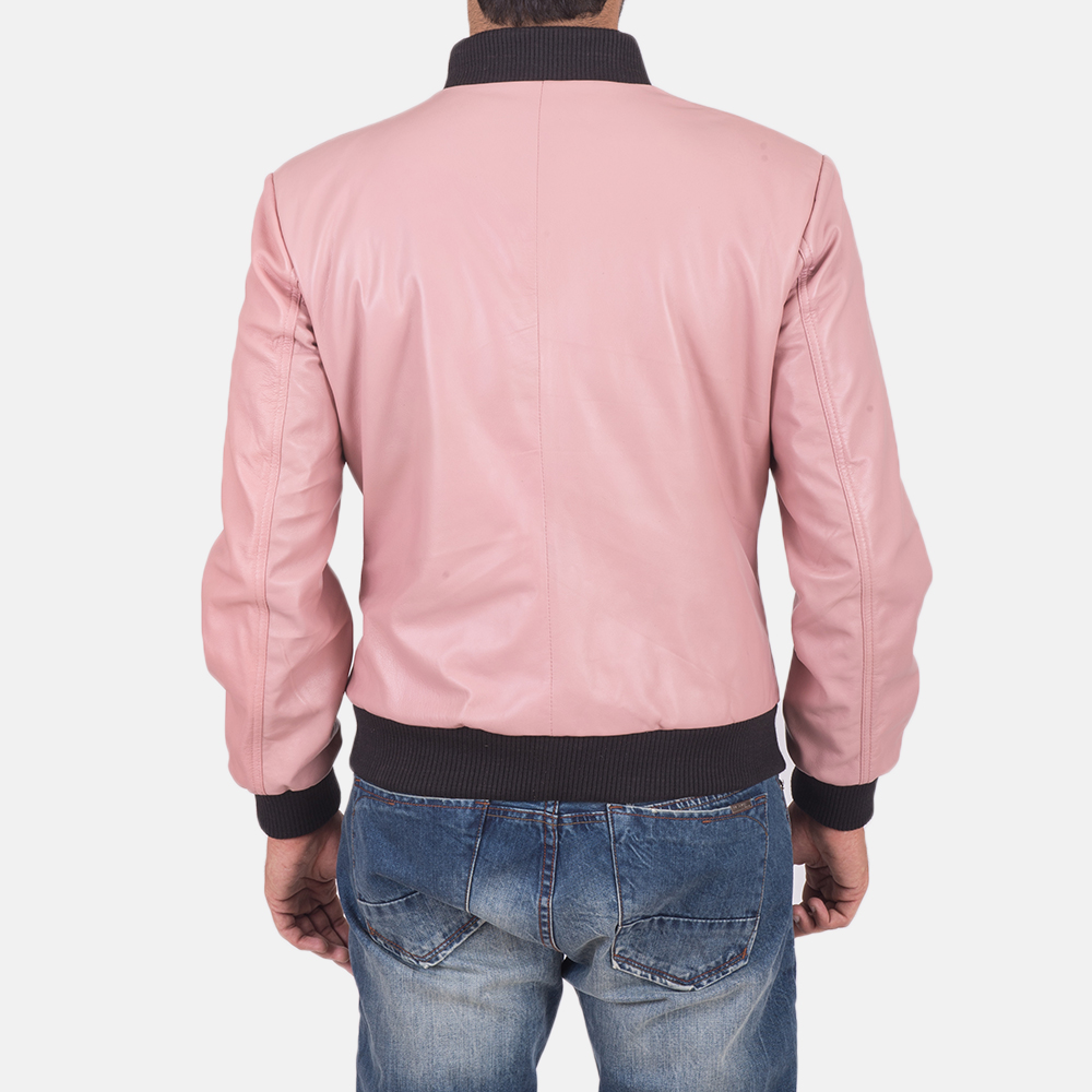 Men's Shane Pink Leather Bomber Jacket 6