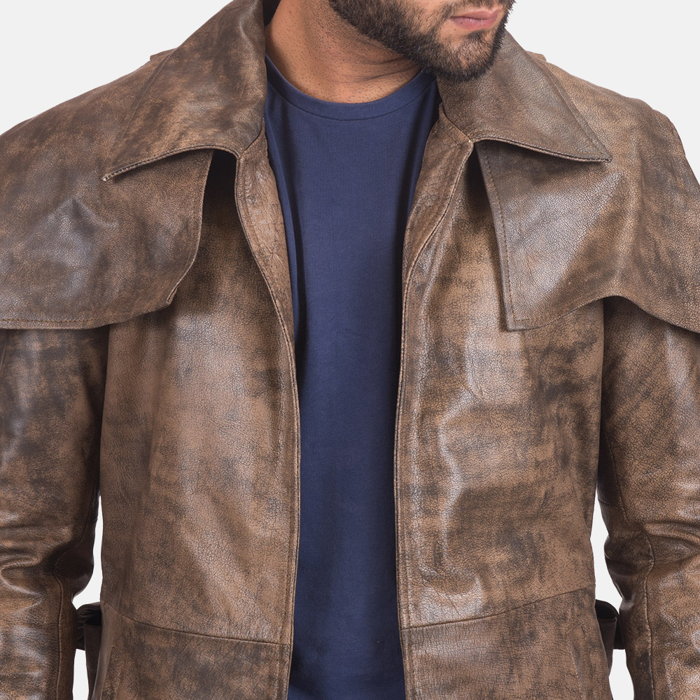 Men's Water-Resistant Brown Leather Duster 5