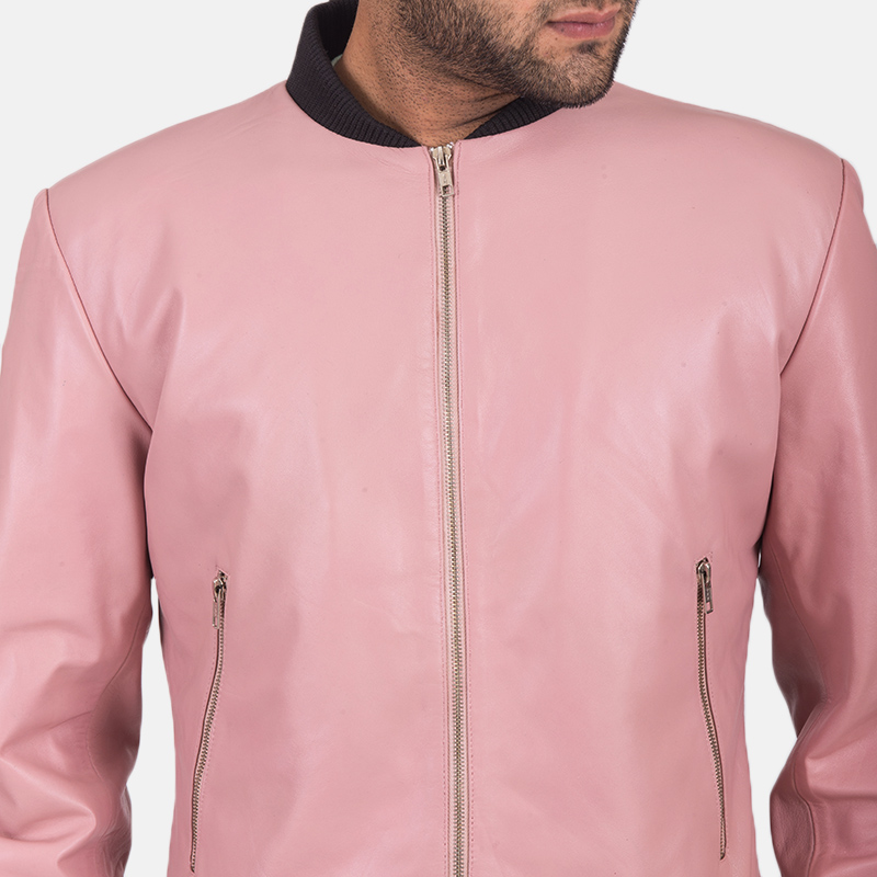 Men's Shane Pink Leather Bomber Jacket 4