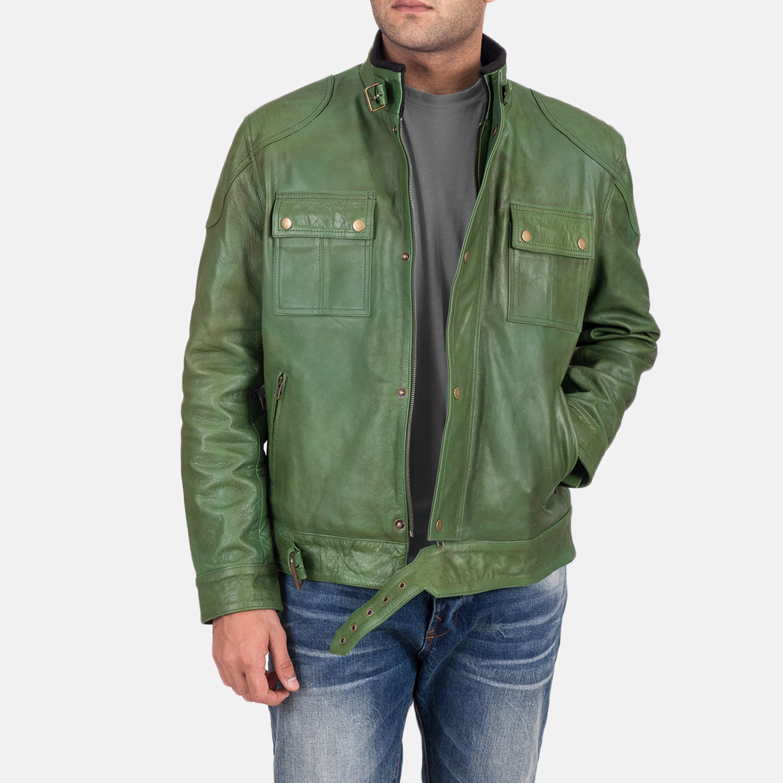Men's Krypton Distressed Green Leather Jacket 3