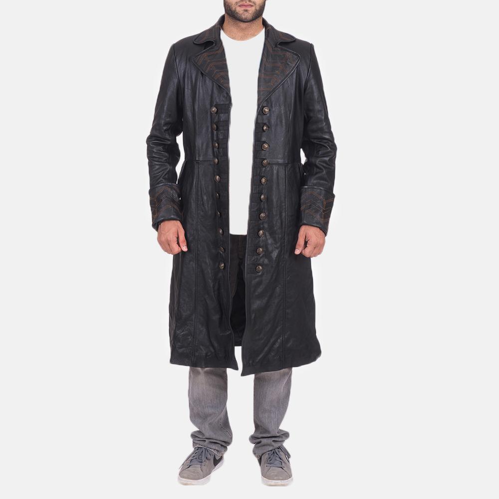 Mens Pirate Black Leather Coat 1