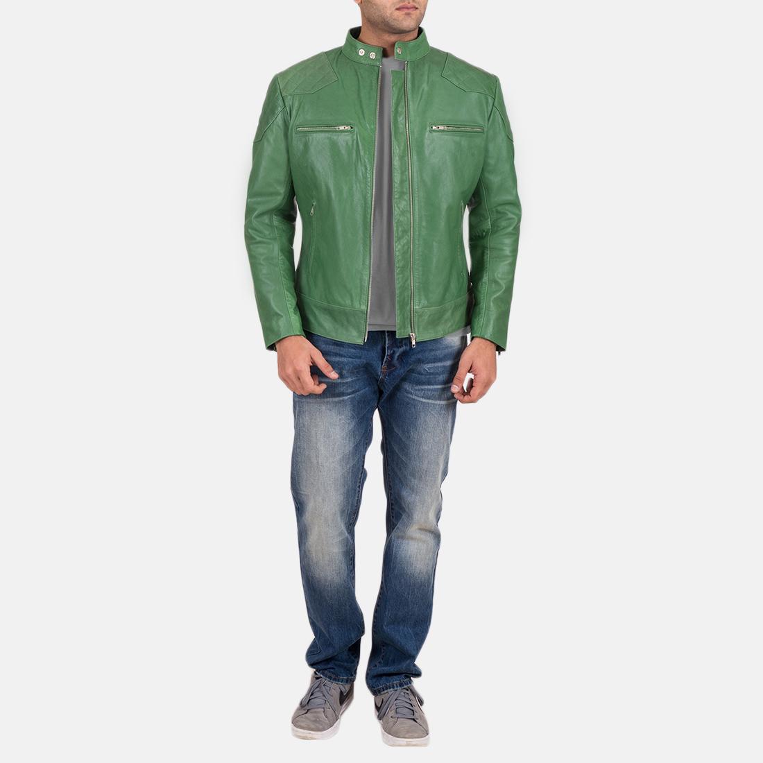Mens Gatsby Green Leather Biker Jacket 1