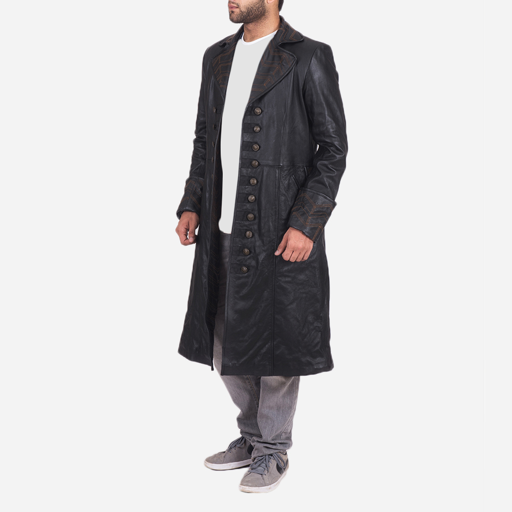 Mens Pirate Black Leather Coat 2