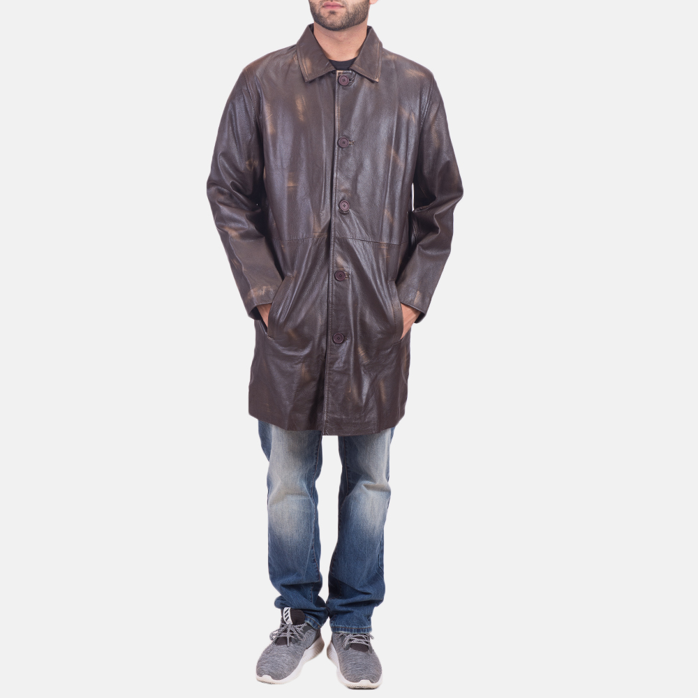Mens Classmith Brown Leather Coat 1
