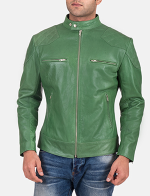 Mens Gatsby Green Leather Biker Jacket