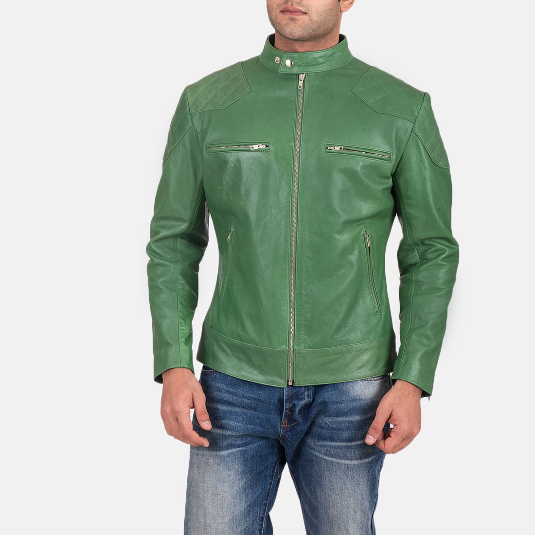Mens Gatsby Green Leather Biker Jacket 2