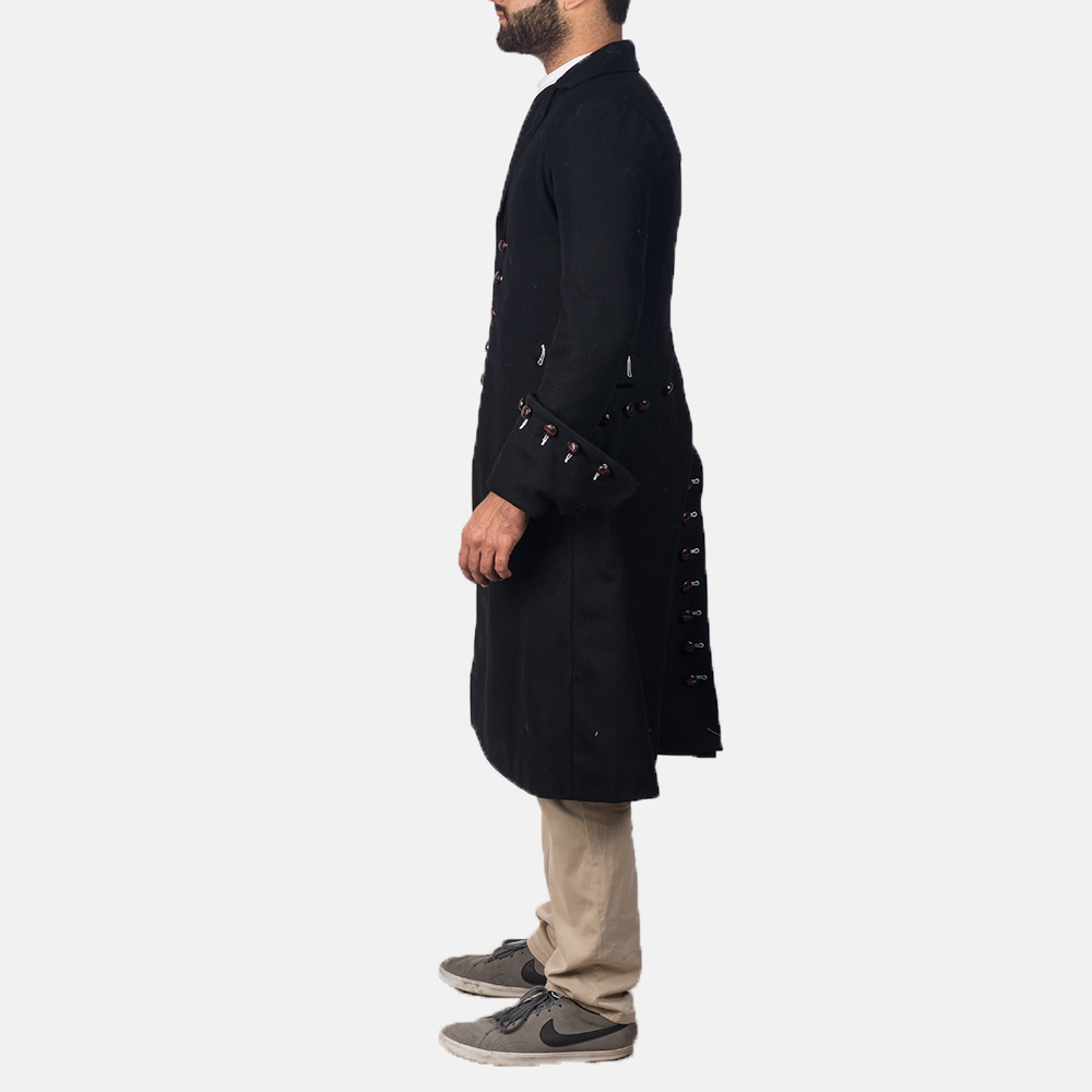Mens Brady Black Wool Coat 3