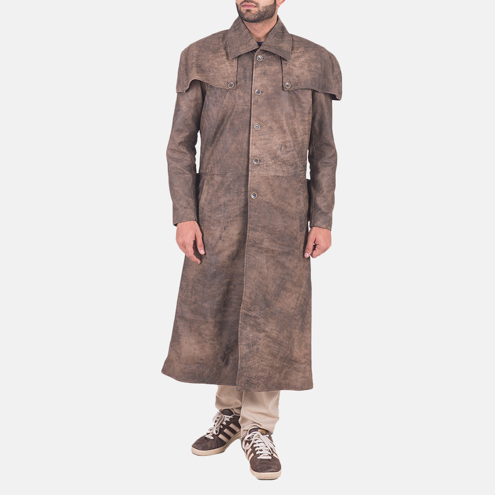 Men's Classic Button Front Army Brown Duster 1