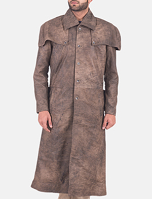 Men's Classic Button Front Army Brown Duster