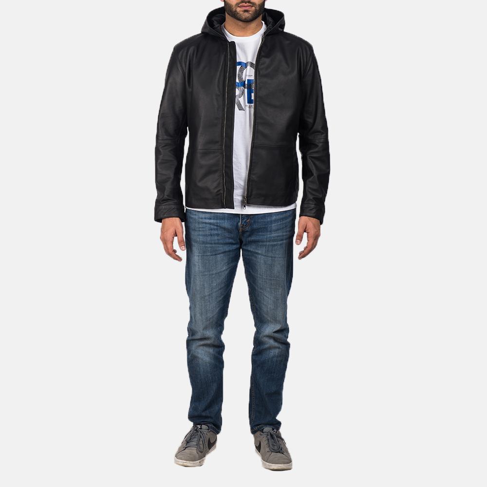 Men's Andy Matte Black Hooded Leather Jacket 5
