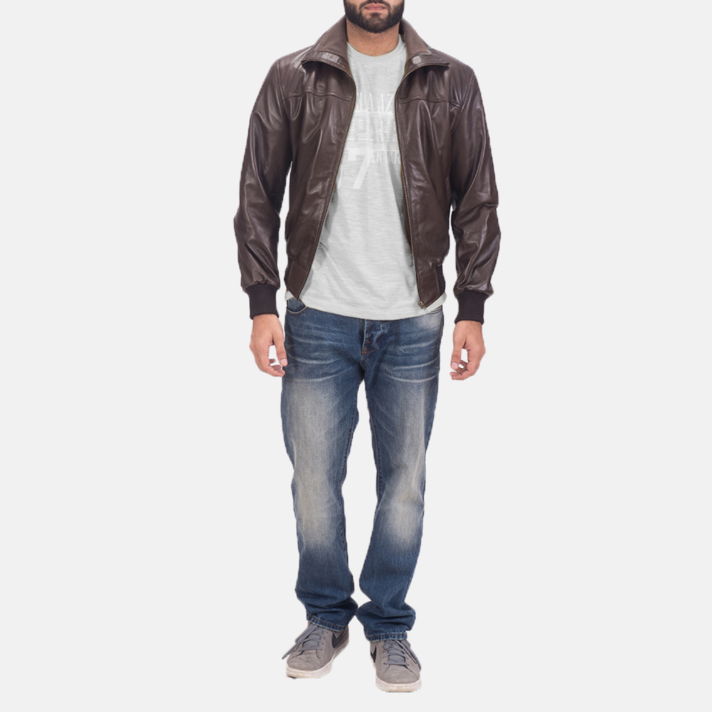 Men's Air Rolf Brown Leather Bomber Jacket 2