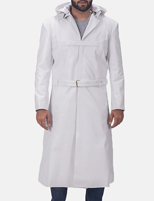 Auburn Cane White Leather Coat