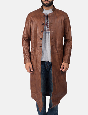 Men's Phixius Brown Leather Coat