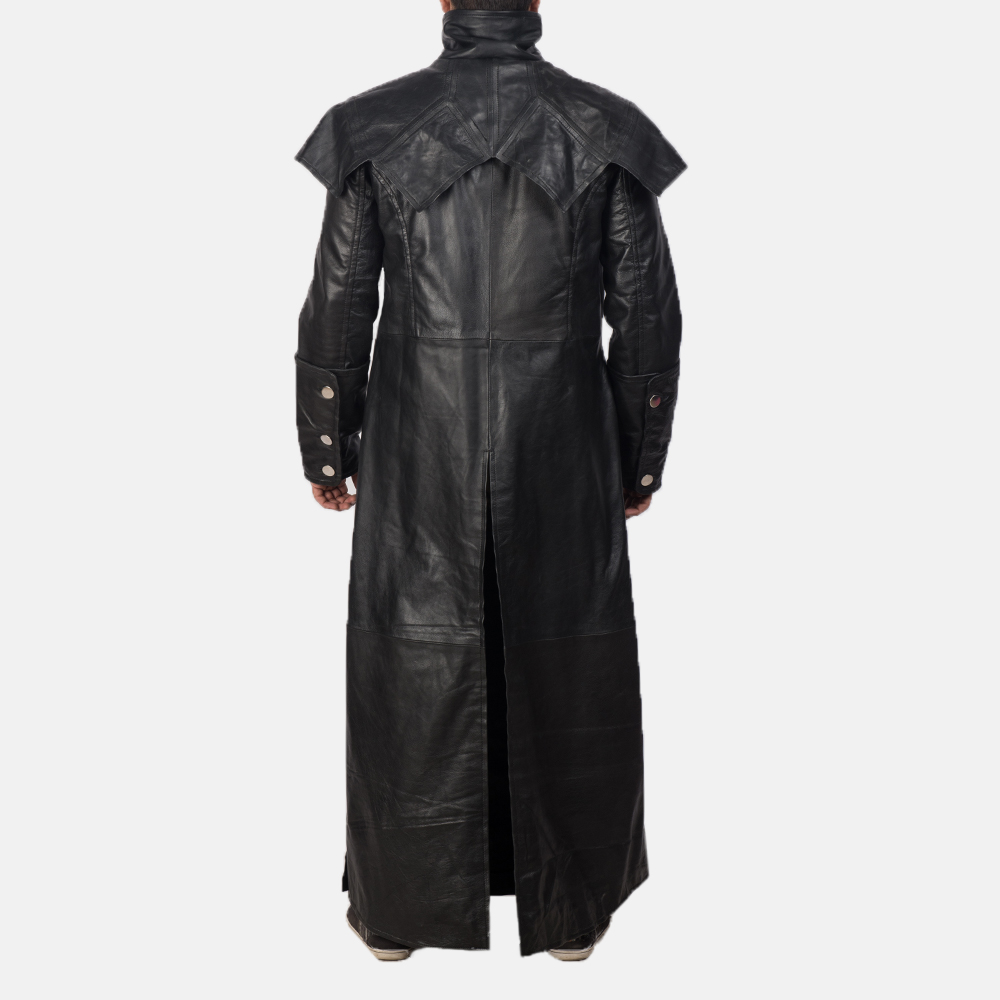 Mens Faisom Black Leather Coat 5