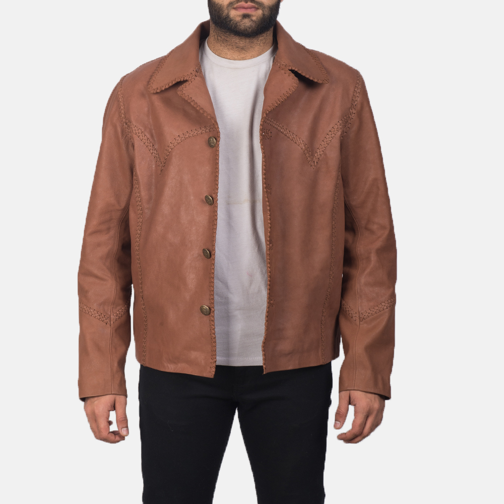 Men's Hayley Vintage Brown Leather Jacket 6