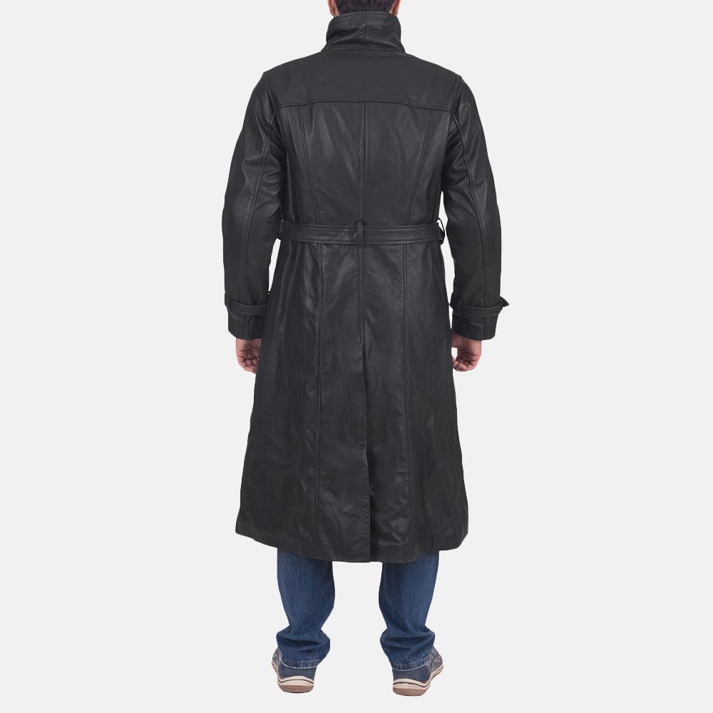 Mens Daniel Black Leather Trench Coat 4