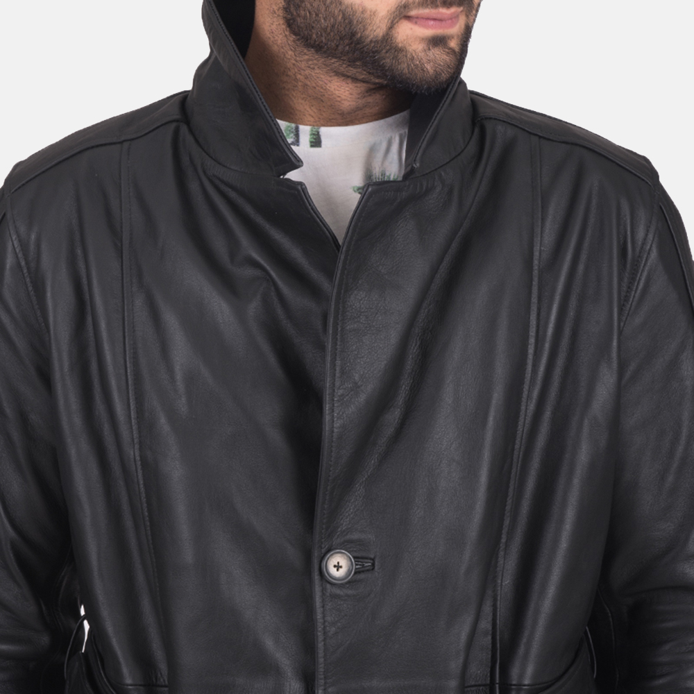 Mens Daniel Black Leather Trench Coat 5