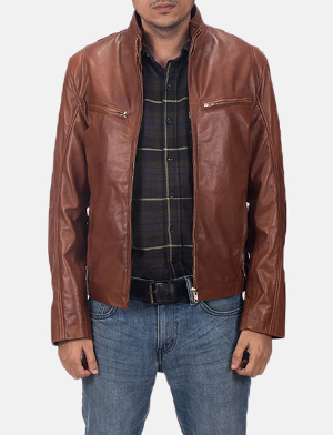 Mens Ionic Brown Leather Jacket
