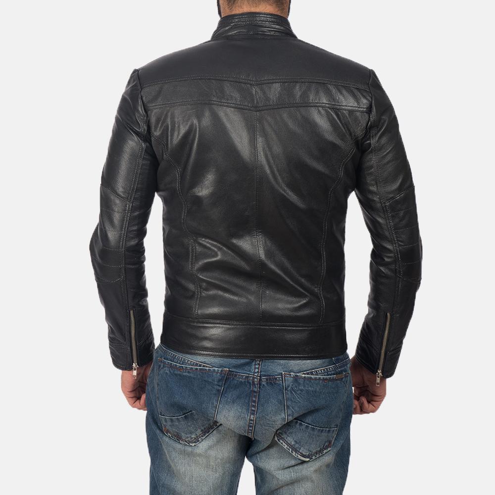 Men's Mack Black Leather Biker Jacket 5