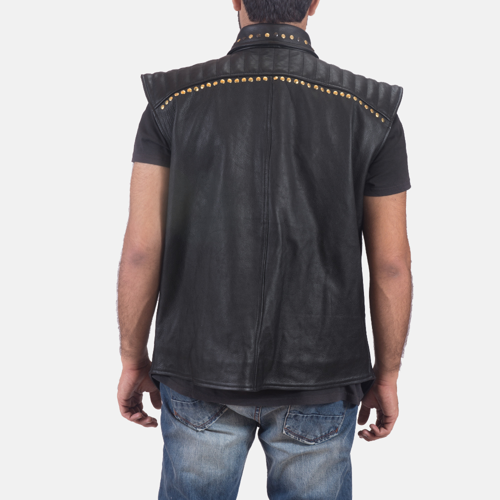 Mens Dominio Deval Black Leather Studded Vest 3