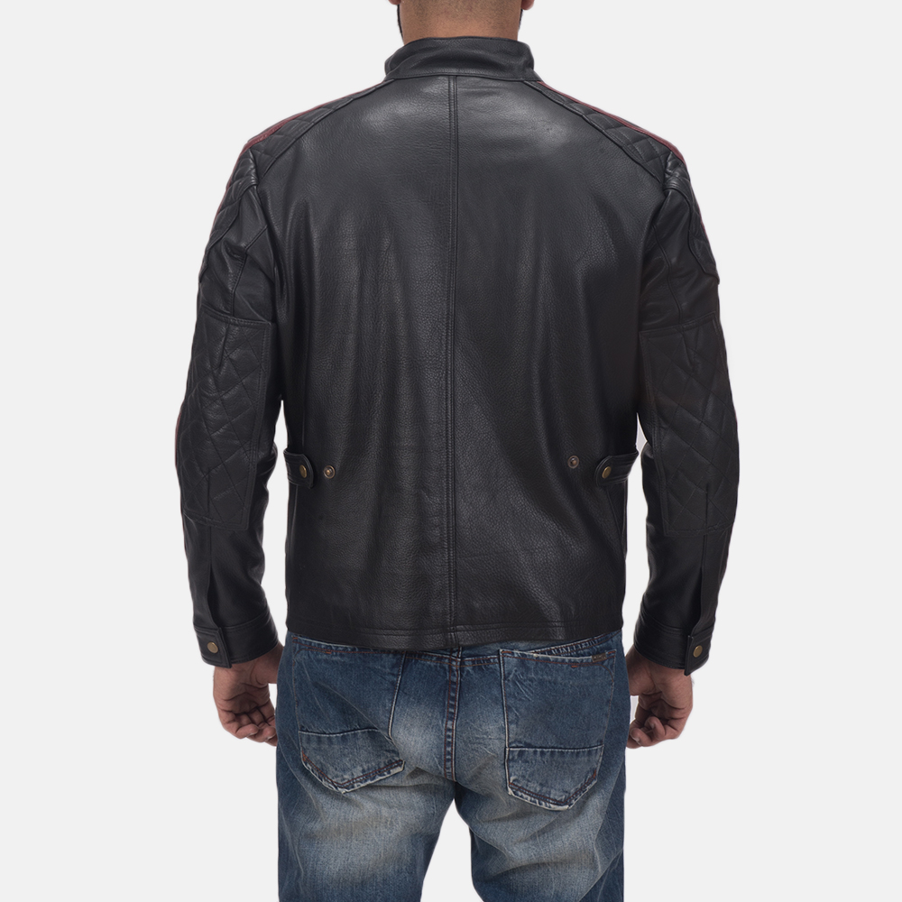Men's Darren Black Leather Biker Jacket 5