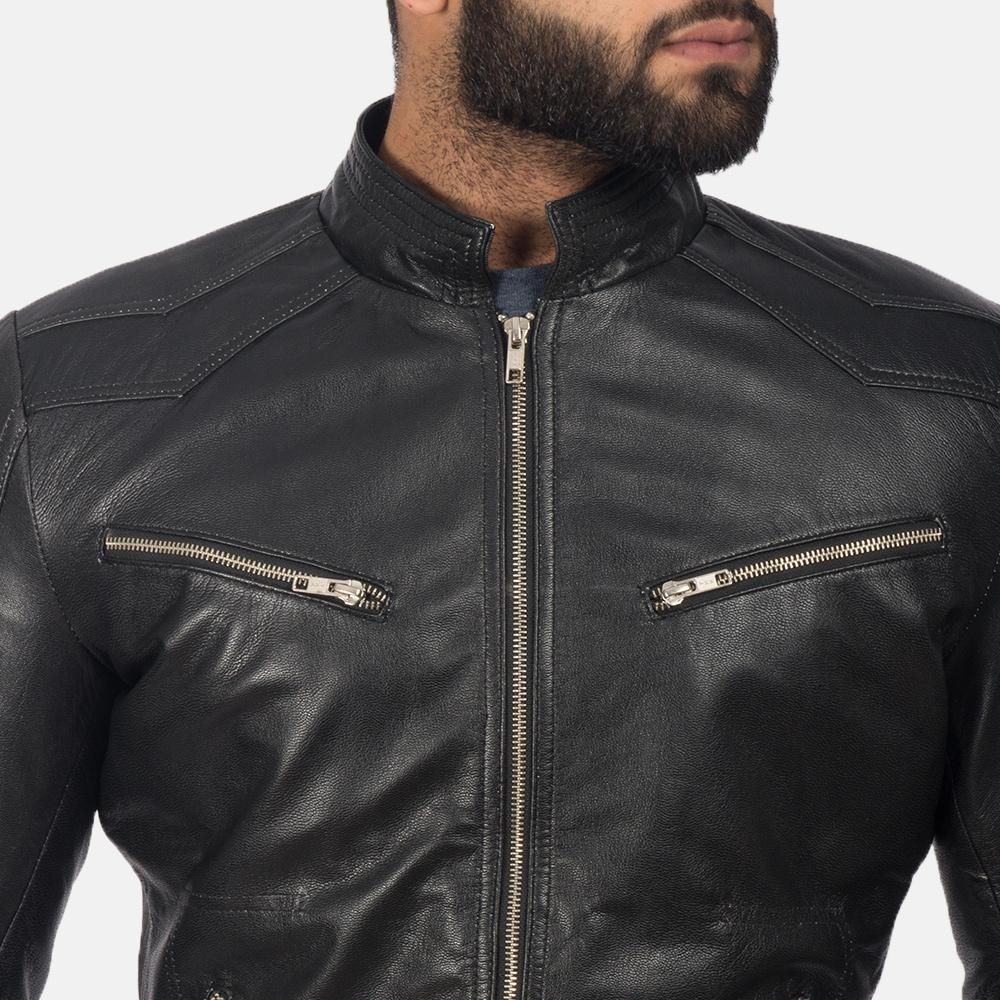 Men's Mack Black Leather Biker Jacket 6