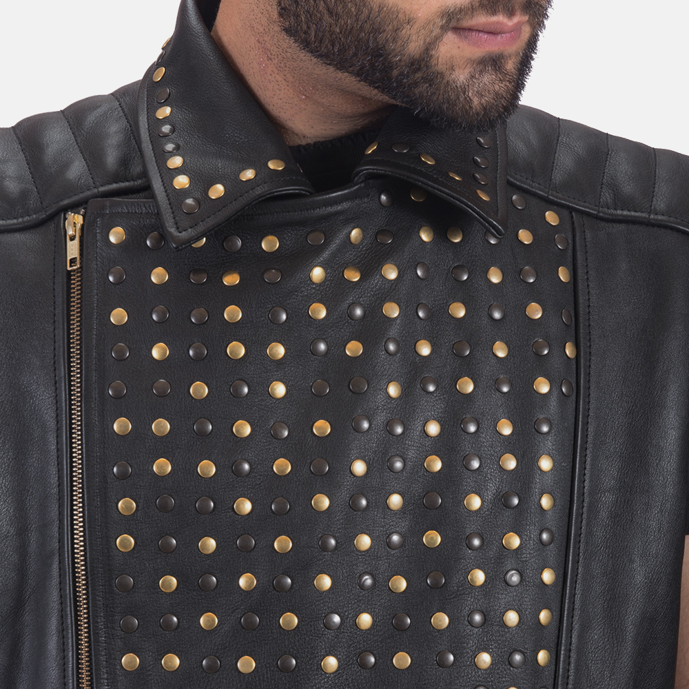 Mens Dominio Deval Black Leather Studded Vest 4