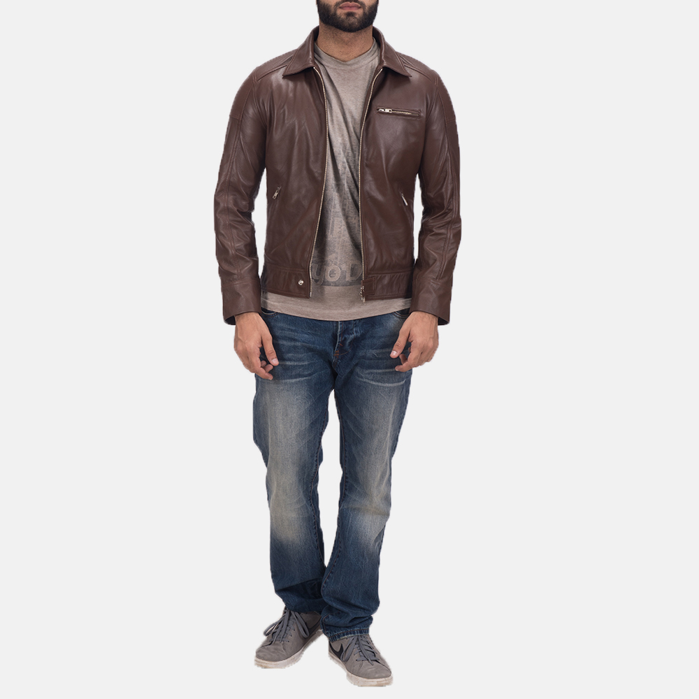 Men's Tim Brown Leather Biker Jacket 2
