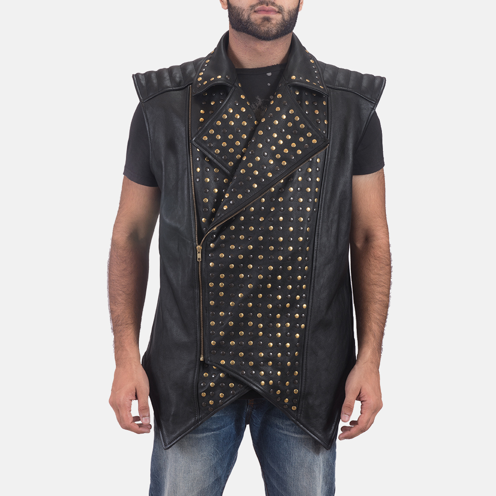 Mens Dominio Deval Black Leather Studded Vest 5