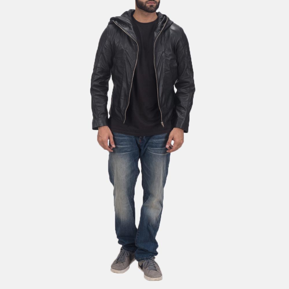 Men's Spratt Black Hooded Leather Jacket 2