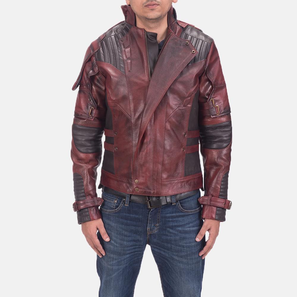 Mens Mars Maroon 2 Leather Jacket 1