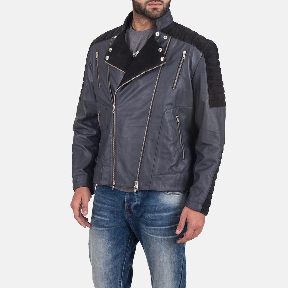 Men's Lucas Hybrid Suede Leather Biker Jacket 3