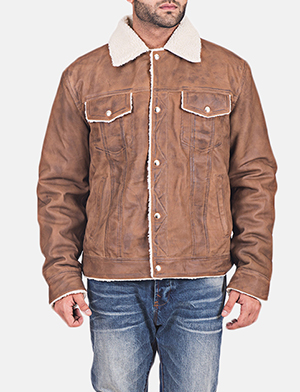 Mens Carter Distressed Brown Fur Jacket