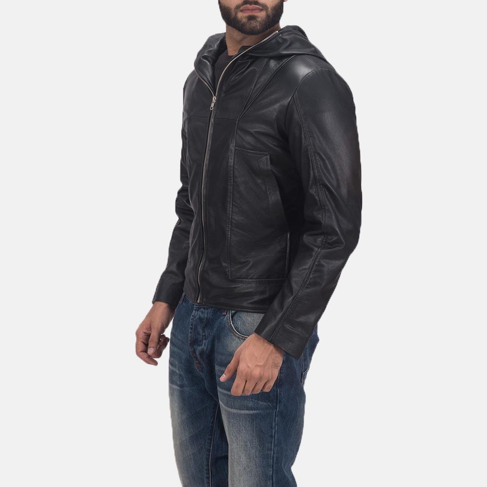Men's Spratt Black Hooded Leather Jacket 3