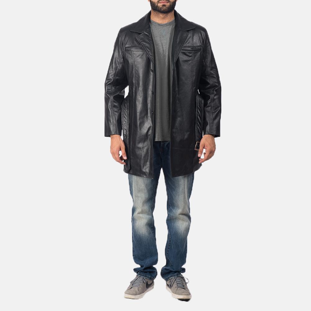 Men's Jordan Black Leather Coat 2