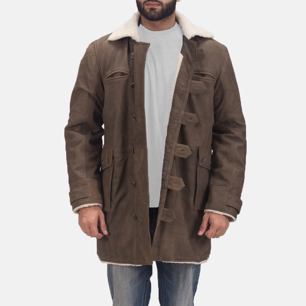 Mens Storm Nite Brown Shearling Coat 1