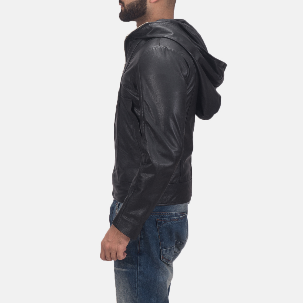 Men's Spratt Black Hooded Leather Jacket 4